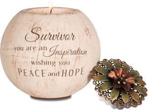 "Light Your Way - ""Survivor you are an Inspiration wishing you Peace and Hope"" Round Tealight Candle Holder with Floral L"