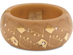 Resin Crown Bangle Bracelet (Large) - Tan with Gold design