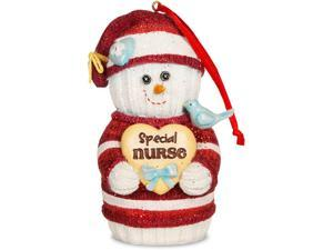 "4"" Socking Snowman Ornament with Saying ""Special Nurse"""