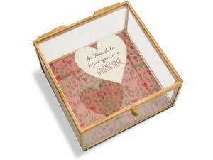 A Mother's Love - So Blessed to Have You as a Godmother Floral Glass Jewelry Box 4.25 Inch