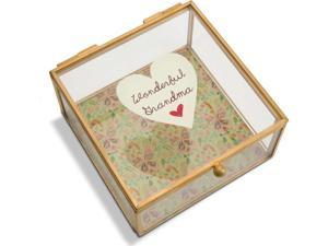 A Mother's Love - Wonderful Grandma Floral Glass Jewelry Box 4.25 Inch