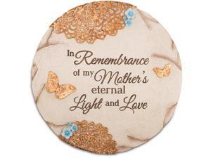 "Light Your Way Memorial - ""In Remembrance of my Mother's eternal Light and Love"" Floral Butterfly Garden Stone 10"" Round"