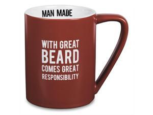 Man Made - With Great Beard Comes Great Responsibility Red Coffee Mug 18 oz