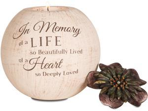 "Light Your Way - ""In Memory of a Life so Beautifully Lived of a Heart so Deeply Loved"" Round Tealight Candle Holder with"