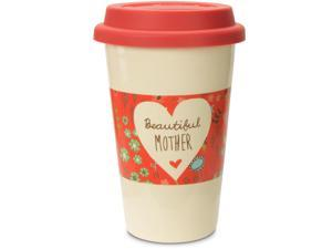 A Mother's Love - Beautiful Mother Pink Floral Stoneware Travel Mug 12oz