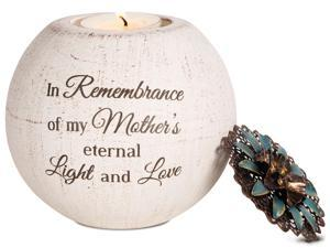 "Light Your Way Memorial - ""In Remembrance of my Mother's eternal Light and Love"" Round Tealight Candle Holder with Flora"