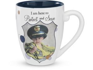 "Candidly...LOL - ""I am here to Protect and Serve"" ""Policeman"" Officer 20 oz Navy Ceramic Mug"