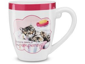 "Shaded Pink - ""Everyone needs a pampering"" ""Relax"" Pink Kitten Cat Ceramic Coffee Mug 17 oz"