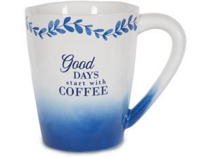 Eat Share Love - Good Days start with Coffee 12 oz Blue Ombre Floral Ceramic Mug