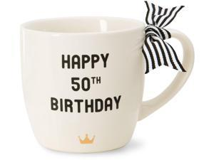 The Milestones Collection - Happy 50th Birthday 12 oz Ceramic Coffee Mug with Crown and Bow