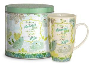 "15oz Teal and Green Mug Reading ""You are the Special One that Brings Joy to my Life"" with Decorative Tin"