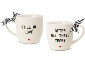 The Milestone Collection -Anniversary 12 oz Ceramic Couples Coffee Mugs with Bow Gift