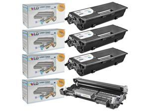 LD © Compatible Brother TN580 Toner and DR520 Drum Combo Pack: 3 Black TN580 Laser Toner Cartridge and 1 DR520 Drum Unit