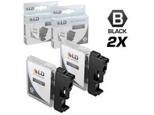 LD © Compatible Brother LC-61 Set of 2 LC61BK Black Inkjet Cartridges