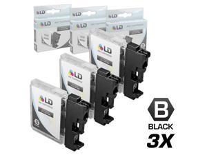 LD © Compatible Brother LC-61 Set of 3 LC61BK Black Inkjet Cartridges
