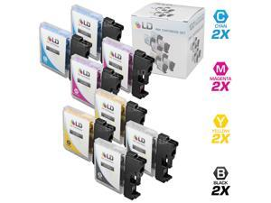 LD © Compatible Brother LC61 Set of 8 Inkjet Cartridges: 2 LC61BK, 2 Cyan LC61C, 2 Magenta LC61M and 2 LC61Y Yellow