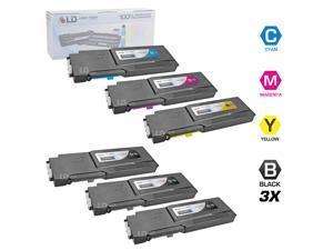 LD © Compatible Alternative for Dell C3760DN / C3760N / C3765NF Set of 6 Toner Cartridges: 3 Black 331-8429, 1 Cyan 331-8432, ...