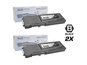 LD © Compatible Dell 331-8429 / W8D60 Set of 2 Black Laser Toner Cartridges for use in Dell C3760DN, C3760N, & C3765NF Printers