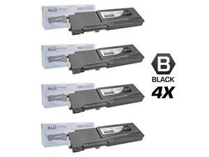 LD © Compatible Dell 331-8429 / W8D60 Set of 4 Black Laser Toner Cartridges for use in Dell C3760DN, C3760N, & C3765NF Printers