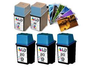 LD © Remanufactured Ink Cartridge Replacements for HP C6614DN (HP 20) Black and HP 51649A (HP 49) Color (3 Black and 2 Color) ...