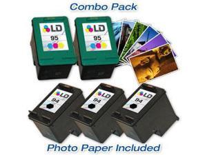 LD © Remanufactured Ink Cartridge Replacements for HP C8765WN (HP 94) Black and HP C8766WN (HP 95) Color (3 Black and 2 Color) ...