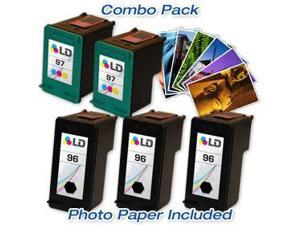 LD © Remanufactured Ink Cartridge Replacements for HP C8767WN (HP 96) Black and HP C9363WN (HP 97) Color (3 Black and 2 Color) ...
