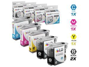 LD © Brother Compatible LC107 / LC105 Set of 5 Ink Cartridges: 2 Black and 1 / Cyan / Magenta / Yellow for use in MFC-J4310DW, MFC-J4410DW, MFC-J4510DW, MFC-4610DW & MFC-J4710DW Printers