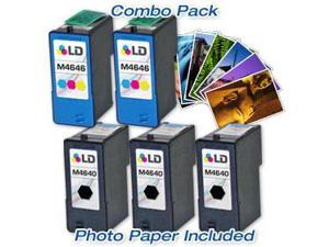 LD © Dell M4646/M4640 Combo Set- 3 LD Remanufactured Dell M4640/R5956 and 2 Reman M4646/R5974 & Free 20 Pack of LD Brand ...