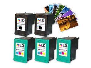 LD © Remanufactured Ink Cartridge Replacements for HP CB335WN (HP 74) Black and HP CB337WN (HP 75) Color (3 Black and 2 Color) ...