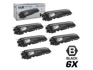 LD Brother Compatible Set of 6 Black TN210BK Laser Toner Cartridges for DCP-9010CN, HL-3040CN, HL-3045CN, HL-3070CW, HL-3075CW, MFC-9010CN, MFC-9120CN, MFC-9125CN, MFC-9320CN, MFC-9320CW, MFC-9325CW