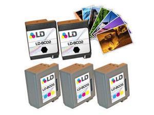 LD © Canon BC-02 & Canon BC-05 Remanufactured Combo Set - 3 Black Canon BC-02 and 2 Tri-Color Canon BC-05 + Free 20 Pack ...