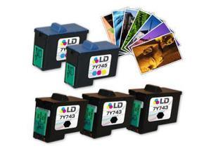 LD © Remanufactured Alternative to Dell 7Y743 & 7Y745 Combo Set - 3 Black and 2 Color + Free 20 Pack of LD Brand 4x6 Photo ...