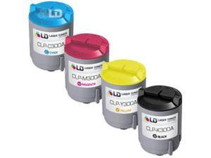 LD © 4 Compatible toners for Samsung CLP300 1 Black CLP-K300A & 1 Cyan CLP-C300A, Magenta CLP-K300M, Yellow CLP-K300Y for ...