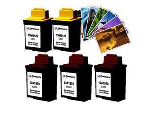 LD © Lexmark  #70 & #20 Remanufactured Combo Set - 3 Black #70 (12A1970) and 2 Color #20 (15M0120) + Free 20 Pack of LD Brand ...