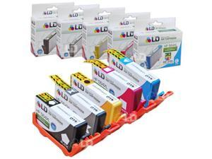 LD Remanufactured Replacement for HP 564XL / 564 Inkjet Cartridges Set of 5: 1 Black CN684WN, Photo Blk CB322WN, Cyan CB323WN, Magenta CB324WN, Yellow CB325WN-Accurate Ink Levels:SHOWS ACCURATE LEVELS