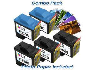 LD © Dell T0529/T0530 Combo Set- 3 Remanufactured Dell T0529 and 2 Reman T0530 & Free 20 Pack of LD Brand 4x6 Photo Paper