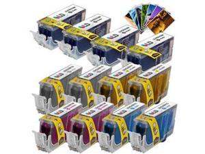 LD © Canon Ink Set of 14 Ink Cartridges: (4) PGI-220, (2) CLI221 B/C/M/Y/G, Free LD 4x6 Photo Paper