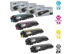 LD Compatible Brother TN210 Set of 5 HY Toner Cartridges: 2 TN210BK & 1 TN210C, TN210M, & TN210Y for DCP-9010CN, HL-3040CN, 3045CN, 3070CW, 3075CW, MFC-9010CN, 9120CN, 9125CN, 9320CN, 9320CW, 9325CW