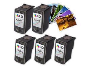 LD © Canon #PG-40 & #CL-41 Remanufactured Combo Set - 3 Black #PG-40 and 2 Color #CL-41+ Free 20 Pack of LD Brand 4x6 Photo ...