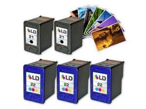 LD © Remanufactured Ink Cartridge Replacements for HP C9351AN (HP 21) Black and HP C9352AN (HP 22) Color (3 Black and 2 Color) ...