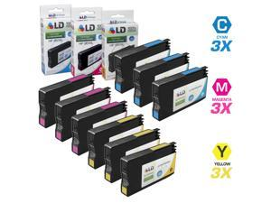 LD © Remanufactured Replacement for HP 951XL / 951 Set of 9 High Yield Ink Cartridges Includes: 3 Cyan CN046AN, 3 Magenta CN047AN, and 3 Yellow CN048AN