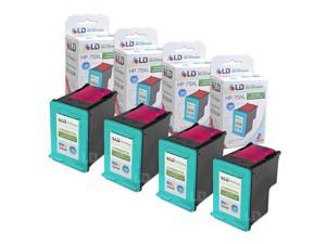 LD © Remanufactured Replacement Ink Cartridges for Hewlett Packard CB338WN 75XL / 75 High-Yield Tri-Color (4 Pack)