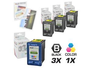 LD © Remanufactured Ink Cartridge Replacements for HP C9351AN (HP 21) Black and HP C9352AN (HP 22) Color (3 Black and 1 Color) ...