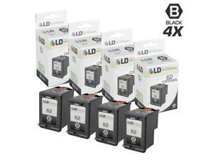 LD © Remanufactured Replacements for Hewlett Packard C2P04AN / HP 62 4PK Black Inkjet Cartridges for use in HP ENVY 5640, 5642, 5643, 5644, 5646, 5660, 7640, 7645, OfficeJet 5740, 5742, & 5745
