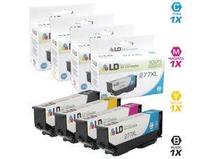 LD © Remanufactured Replacements for Epson 277XL 4PK HY Ink Cartridges: 1 T277XL120 Black, 1 T277XL220 Cyan, 1 T277XL320 Magenta, & 1 T277XL420 Yellow for Expression XP 850, 860, & 950 Printers