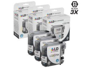 LD © Compatible Replacements for Brother LC207BK Set of 3 Extra High Yield Black Inkjet Cartridges for use in Brother MFC J4320DW, J4420DW, and J4620DW Printers