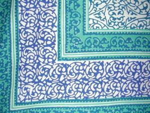 "Persian Filigree Block Print Tapestry Cotton Bedspread 108"" x 88"" Full-Queen Blue"