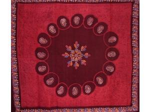 "Batik Tapestry Cotton Bedspread 108"" x 108"" Queen-King Red"