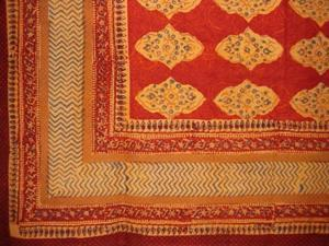 "Kensington Block Print Cotton tablecloth 90"" x 60"" Red Orange"