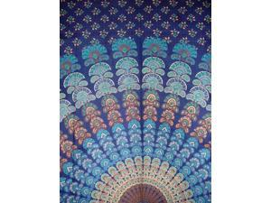 """Sanganeer Indian Tapestry Cotton Bedspread 106"""" x 106"""" Queen Blue"""